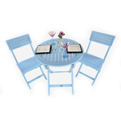 Painted Wooden 2 Seater Round Folding Bistro Set Blue - Outdoor/Garden table and Chair set.