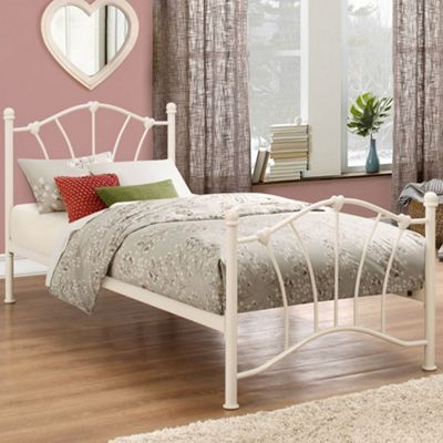 Happy Beds Sophia Metal Low Foot End Bed with Orthopaedic Mattress - Cream - 3ft Single