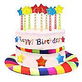 Novelty Happy Birthday Cake Candles Hat Fancy Dress Accessory Fun Party Rainbow