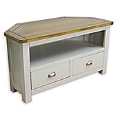 Wellington Painted Oak Corner TV Stand / Grey Corner TV Unit with Solid Oak Top