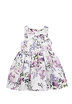 F&F Floral Print Bow Front Prom Dress - Lilac multi
