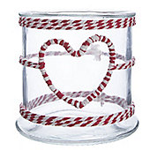 Red and White Twine Christmas Candle Holder