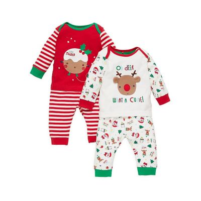 mothercare baby unisex christmas pyjamas 2 pack size 9 12 months