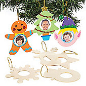 Christmas Wooden Photo Frame Hanging Decoration Kits for Children - Creative Xmas Craft Activity for Kids (Pack of 8)