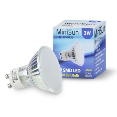 Pack of 4 Minisun 3W SMD LED Glass Bodied Daylight GU10 Bulbs - 6500K