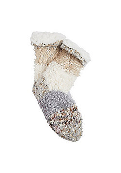 F&F Fleece Lined Textured Knit Bootie Socks - Cream