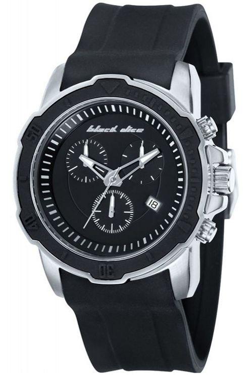 Black Dice Gents Rubber Strap Chronograph Watch BD06601