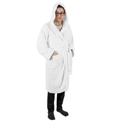 Homescapes White 100% Combed Egyptian Cotton Hooded Adults Unisex Bathrobe, Small/Medium