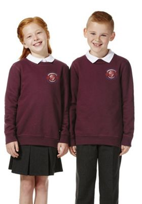 Unisex Embroidered School Sweatshirt with As New Technology 2-3 years Burgundy