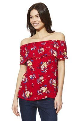 F&F Floral Print Bardot Top Red 6