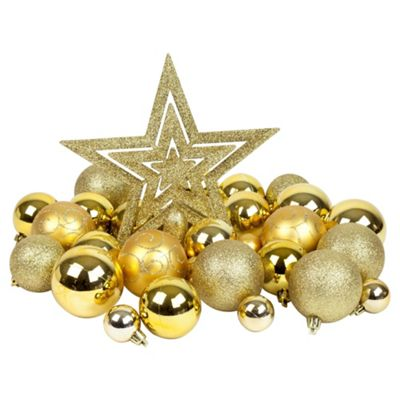 Gold 50pc Shatterproof Christmas Tree Decoration Set Christmas Tree Ornaments