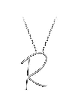 Sterling Silver 18 inch Initial Necklace Identity Pendant - Letter R