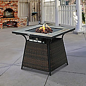 Outsunny Rattan Fire Pit Gas Burner Patio Heater Square w/ Fire Control Panel and Lava Rocks