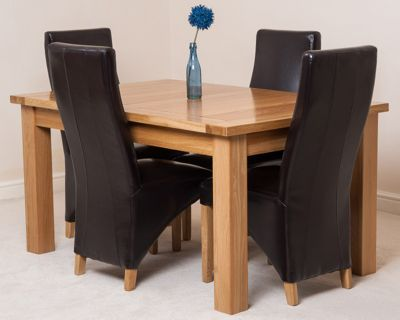 Seattle Solid Oak Extending 150 - 210 cm Dining Table with 4 Brown Lola Leather Chairs