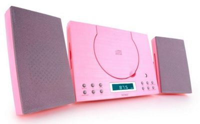 Denver MC-5010 Pink Wall Mountable Compact Stereo CD player HiFi With Radio, Aux In & Clock Alarm
