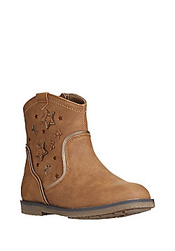 F&F Star Appliqué Western Ankle Boots - Tan