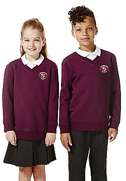 Unisex Embroidered V-Neck School Sweatshirt with As New Technology - Burgundy