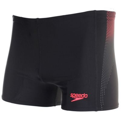 Speedo Panel Mens Swimming Aquashort Trunk Short Black/Red - 32