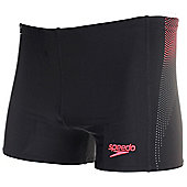 Speedo Panel Mens Swimming Aquashort Trunk Short Black/Red - Black