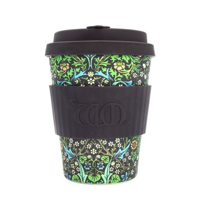 Ecoffee Cup & William Morris Blackthorn with Black Silicone 12oz