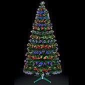 Premier 5ft Fibre Optic Burst Christmas Tree with Red-Blue & Red-Green LEDs