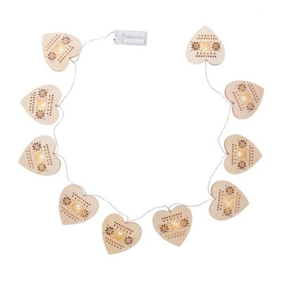 Wooden Hearts Christmas Battery Lights
