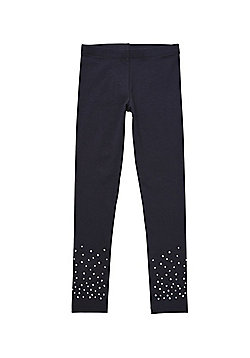 F&F Diamante Embellished Leggings - Black