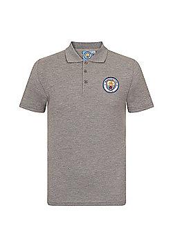 Manchester City FC Boys Crest Polo Shirt - Grey