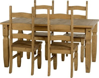 Distressed Waxed Pine Dining Set with 4 Chairs