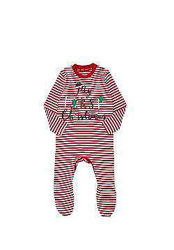 F&F My First Christmas Striped Sleepsuit - Red