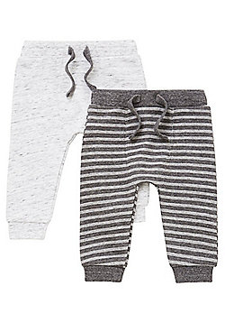 F&F 2 Pack of Striped and Marl Joggers - Grey