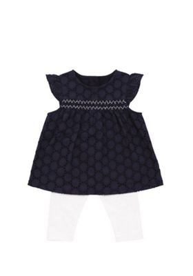 F&F Lace Smock Top and Leggings Set Navy/White 0-1 months