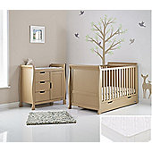 Obaby Stamford 2 Piece Cot Bed/Sprung Mattress/Quilt and Bumper Nursery Room Set - Iced Coffee