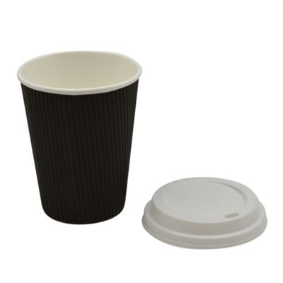 Disposable Coffee Tea Hot Drinks Black Cup & White Lid 12oz x20