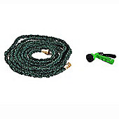 Outsunny 49FT Expandable Garden Water Hose 7-Pattern Sprayer Nozzle Dark Green (49FT (15m))