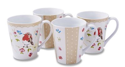 Cooksmart Dawn Chorus Bird Mugs, Set of 4