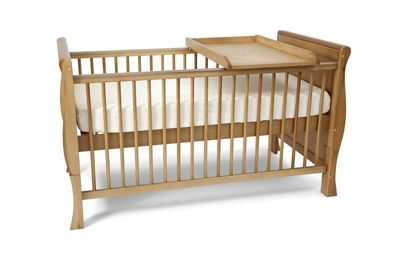 Scarlett Sleigh Cot Bed/Toddler Bed-Deluxe Sprung Mattress-Changer-Country Pine