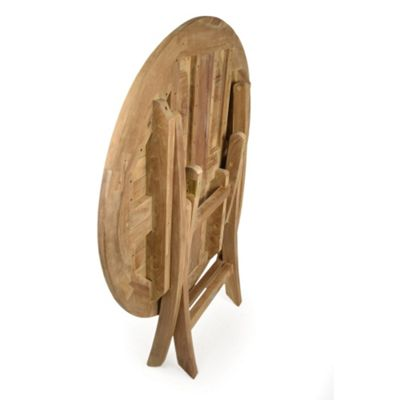 BrackenStyle Whitley Round Folding Teak Table - Brown
