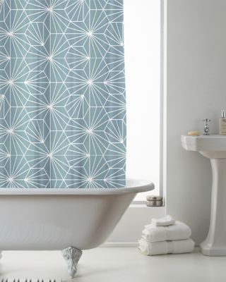 Country Club Shower Curtain Skandi Geo Teal 180 x 180cm