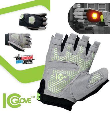 ICGlove Indicator Cycling Bicycle Silicone GEL Half Finger Fingerless Bike Gloves