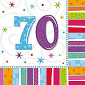 70th Birthday Radiant Luncheon Napkins - 2ply Paper - 16 Pack