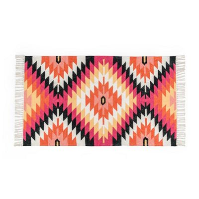 Homescapes Jakarta Handwoven Pink, Orange and Yellow Multi Coloured Geometric Pattern Kilim Wool Rug, 90 x 150 cm