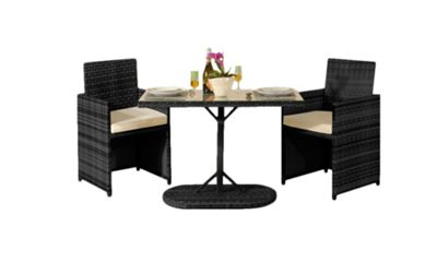 Comfy Living 3PC Rattan Bistro Dining Garden Furniture Set In Black With Cover - 2 Chairs & Table