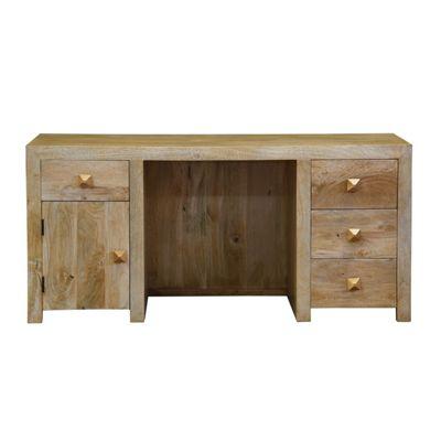 Homescapes Dakota Large Office Desk with Drawers Light Oak Shade