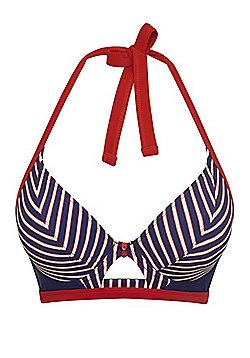 Curvy Kate Ahoy Striped Halterneck Fuller Bust Bikini Top - Blue
