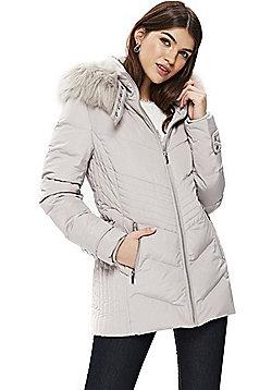 Wallis Buckle Neck Short Puffer Coat - Grey
