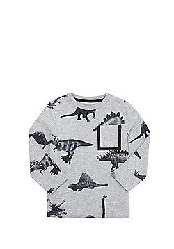 F&F Dinosaur Print Long Sleeve T-Shirt - Grey marl