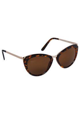 F&F Metallic Trim Cat Eye Sunglasses Brown