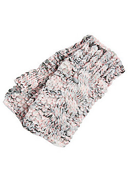F&F Neon Space Dye Cable Knit Fingerless Mittens - Grey