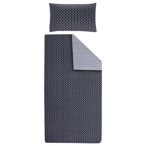 Tesco Geo Duvet Cover Set- Black/Grey Single